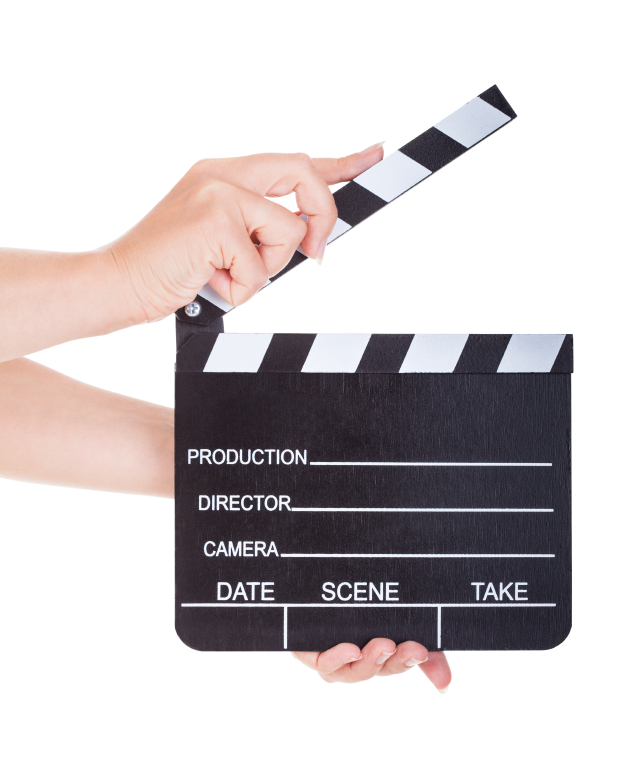 Hand Holding Clapperboard On White Background