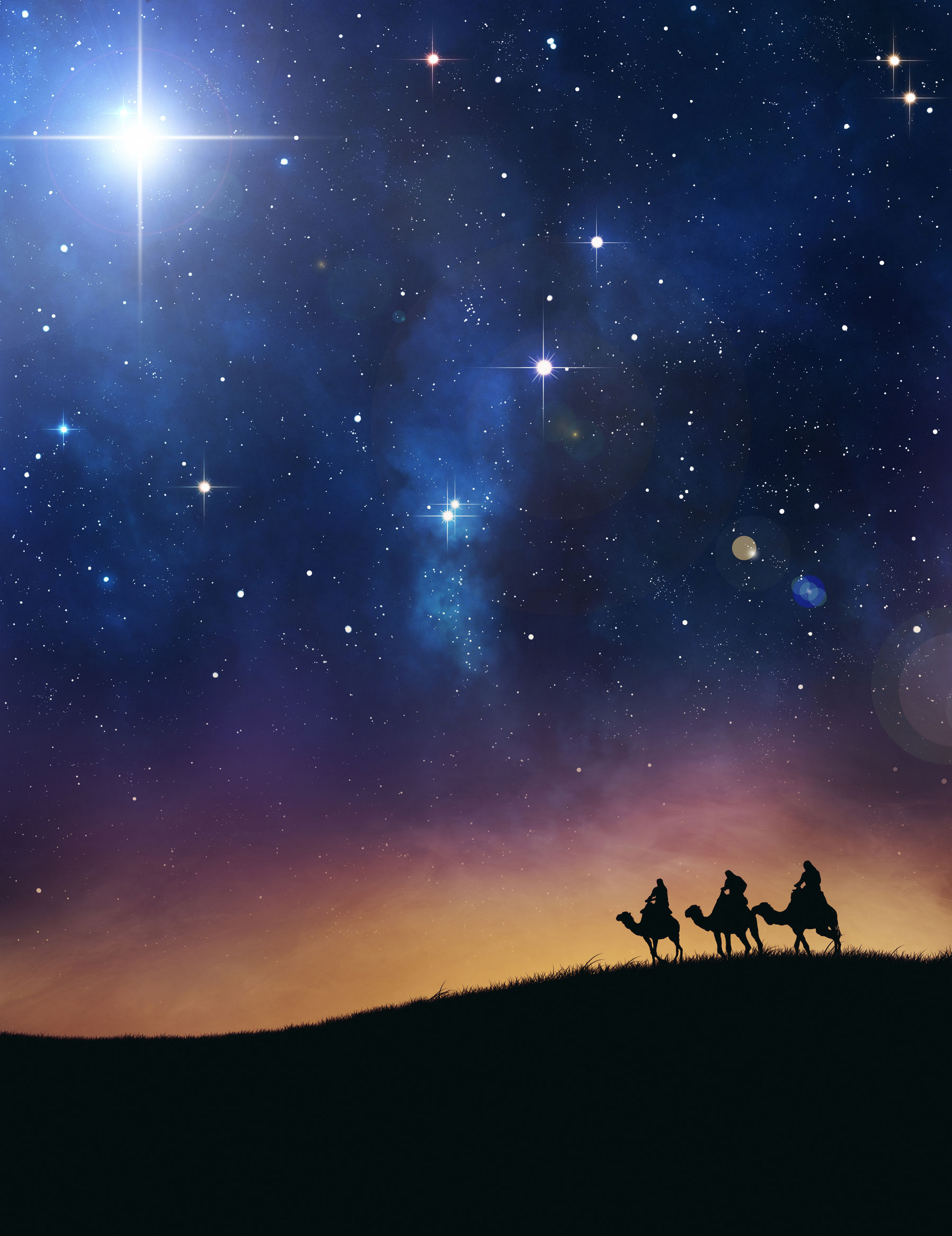 23765480 - three wise men following the star of bethlehem.